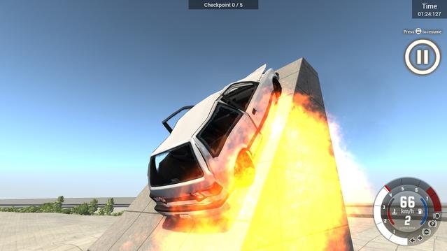 Par miracle la voiture marche toujours donc on remet ça, par contre le réservoir percé finit par prendre feu, tant pis !