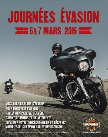 Harley-Davidson: journées Évasion les 6 et 7 mars 2015