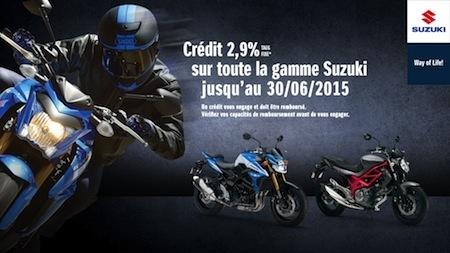 Suzuki: un crédit de 2,9% jusqu'au 30 juin 2015 et le tarif des nouveautés