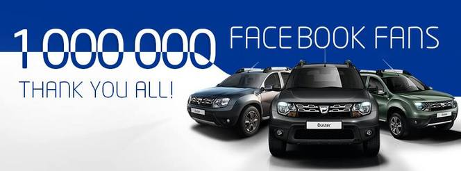 Dacia dépasse le million de fans facebook