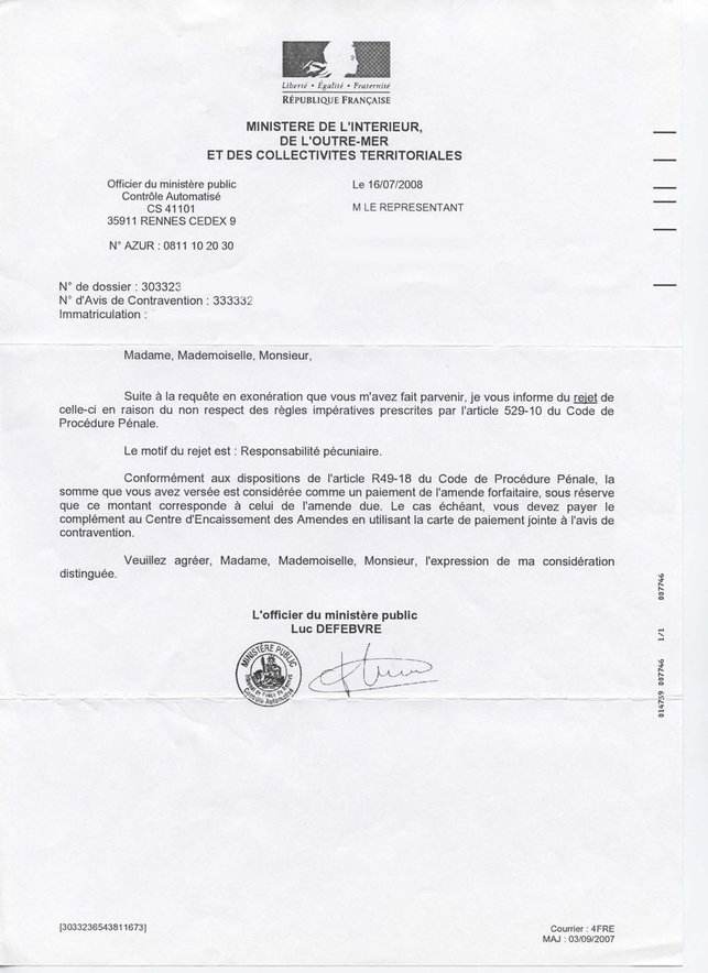 Urgent - Maître Dufour, consultant Caradisiac, recherche des automobilistes qui auraient reçu ces documents...