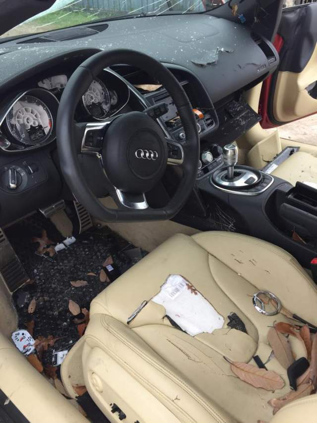 L'Audi R8 du mari volage est bonne pour la casse