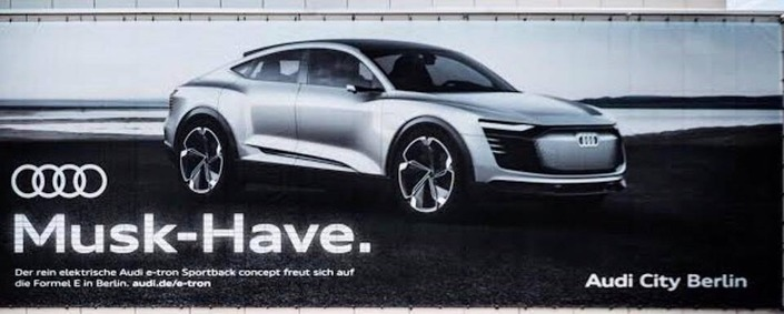 Audi fait un jeu de mots avec le patron de Tesla