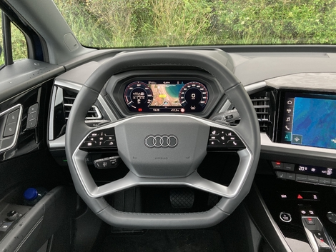 The new double flattened steering wheel has buttons that light up with the ignition.