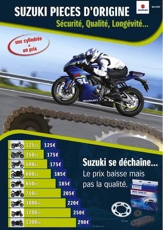 Kits chaîne d'origine Suzuki: une cylindrée, un prix...