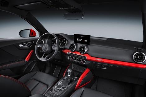 Rare dans une Audi: le Q2 peut oser la couleur! L'écran n'est pas rétractable.