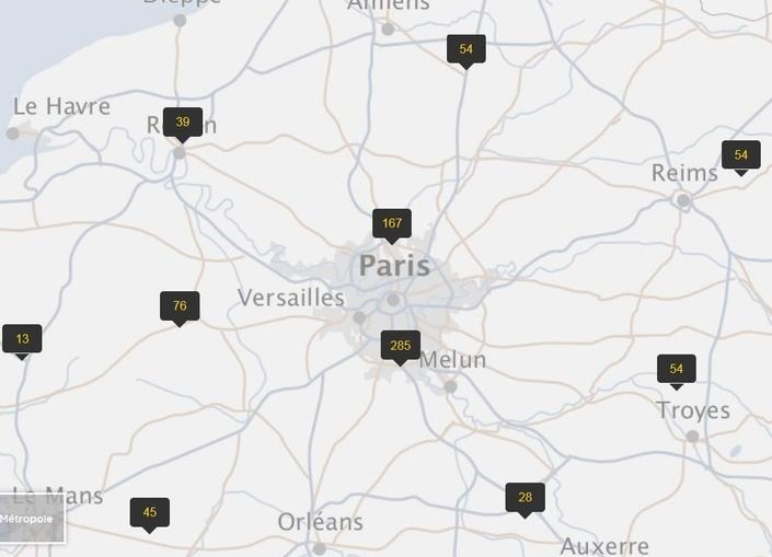 """Cet extrait de la carte officielle des radars montre à quel point l'Ile-de-France est """"gâtée"""" en termes d'arsenal répressif."""