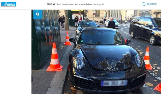 Paris: les démineurs font exploser une Porsche mal garée