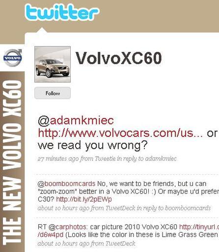 Volvo se lance sur twitter