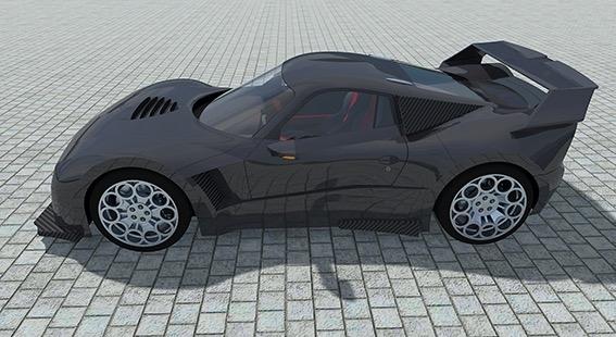 Le projet de cette voiture repose sur un châssis tubulaire en acier de qualité aviation, un moteur de 470 ch équipé d'un compresseur électrique et d'un turbo et une carrosserie entièrement en carbone pour un poids total d'environ 980kg.
