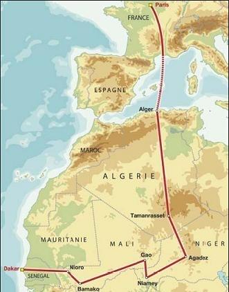 Souvenir : Le tracé du premier Paris.Alger.Dakar.