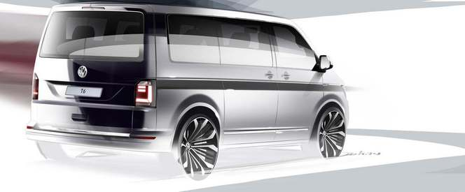 volkswagen montre en dessin une partie du nouveau transporter. Black Bedroom Furniture Sets. Home Design Ideas
