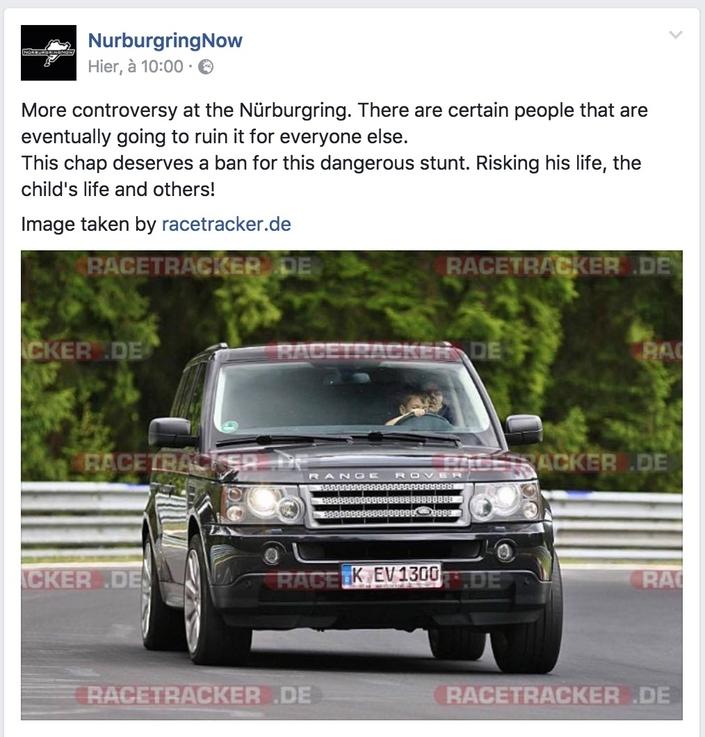 Un enfant au volant d'un Range Rover sur le circuit du Nürburgring