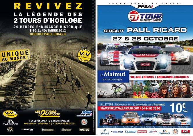 Agenda Paul Ricard : GT Tour et  2 tours d'horloge VHC
