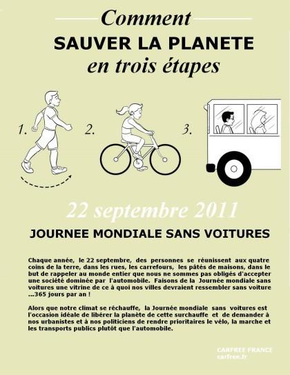 Journée sans voiture : le 22 septembre 2011 en France