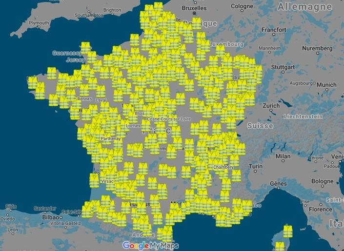 Cette carte regroupe les sites susceptibles d'être bloqués le 17 novembre.