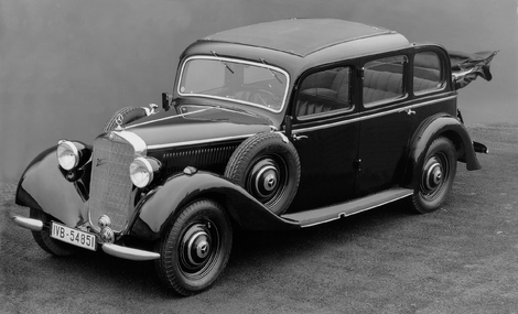 The Mercedes 260D, the first car marketed with a Diesel engine in 1936.