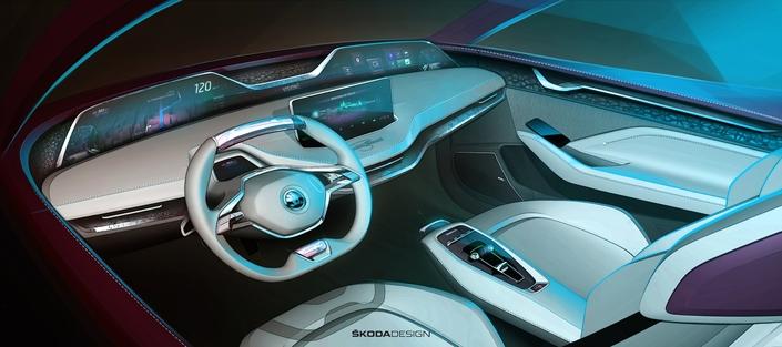 Intérieur stylisé du concept-car Vision E, à découvir sur le stand Skoda au prochain salon de Francfort.
