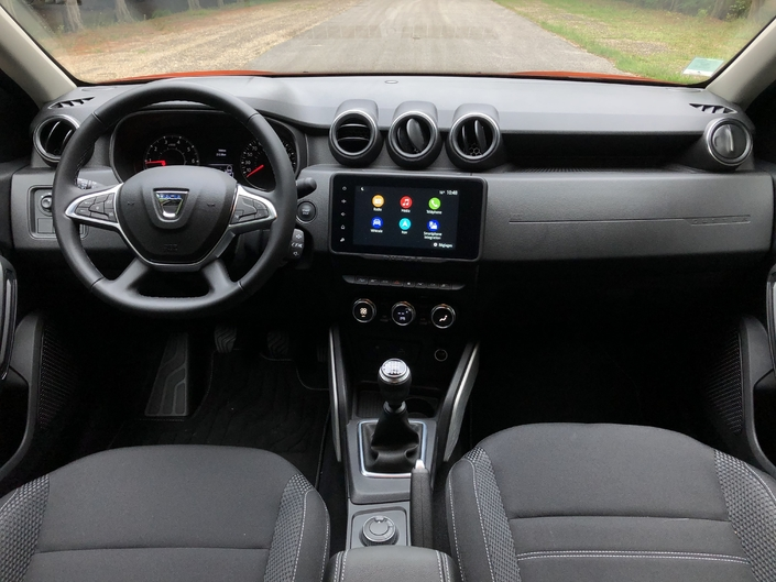Other than the drive mode selector, the interior is the same as a two-wheel-drive Duster.