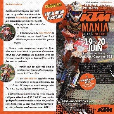 KTM Mania les 19 et 20 juin : les dernières inscriptions !