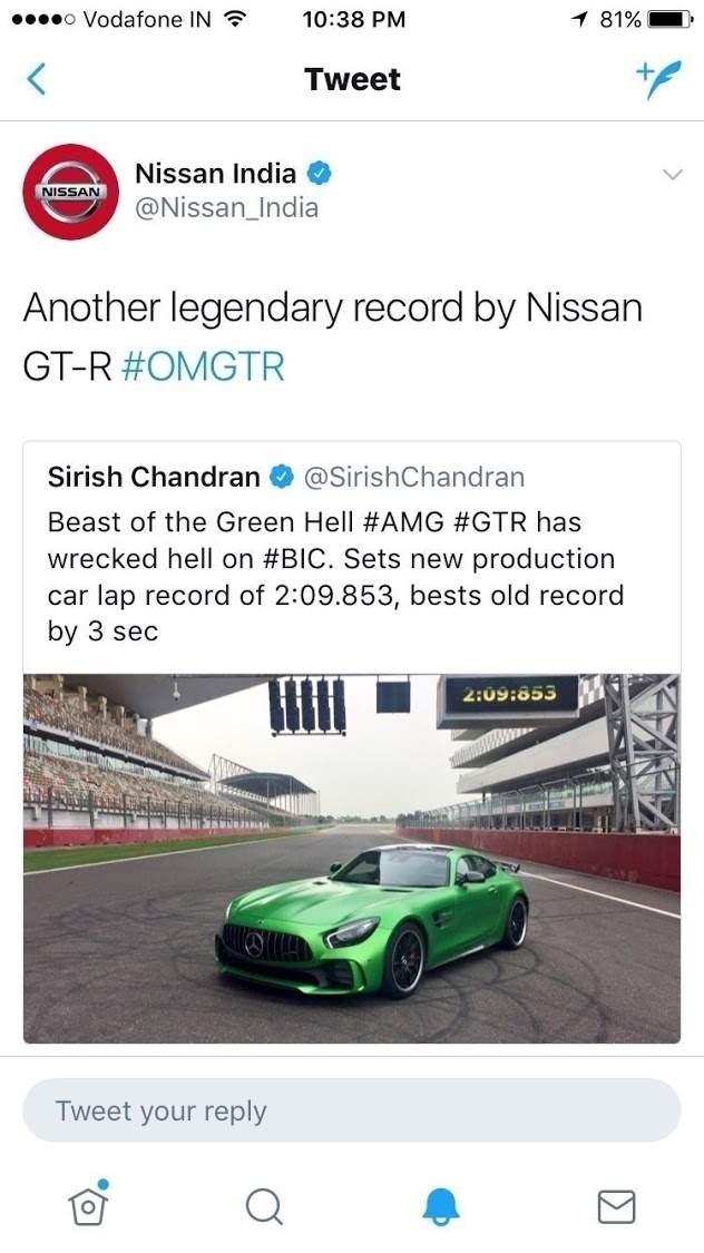 Le compte Twitter Nissan se trompe et fait la promotion de l'AMG GT R