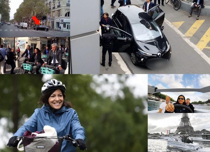 Face aux caméras, Anne Hidalgo est toujours prête à utiliser un vélo ou promouvoir des moyens de déplacements électriques, à l'image du prototype de bateau-taxi SeaBubble. Au quotidien, la partition est bien différente.