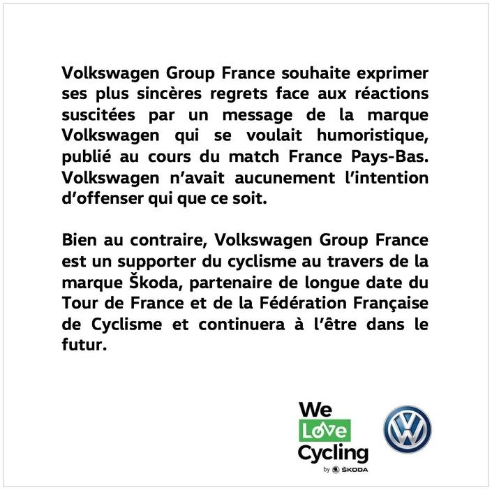 Volkswagen déraille avec un slogan au cours du match France Pays-Bas