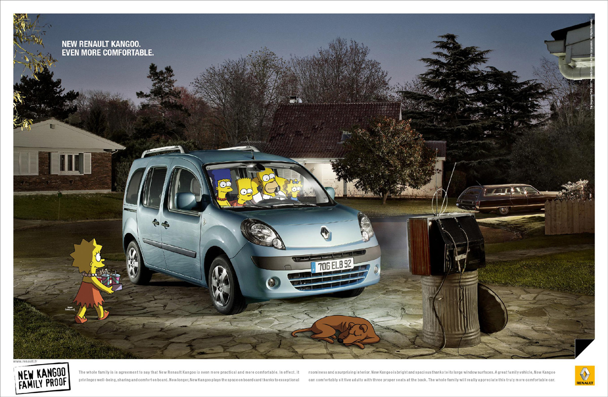nouveau renault kangoo test par les simpson pub. Black Bedroom Furniture Sets. Home Design Ideas
