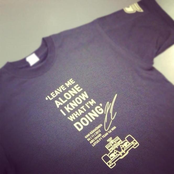 """F1 Lotus : les tee-shirts """"Leave me alone"""" de Kimi Räikkönen"""