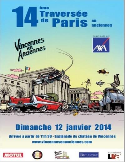La 14ème traversée de Paris en anciennes, ce sera le 12 janvier 2014.