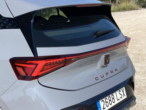 The specific rear part is distinguished by lights connected by a light strip.