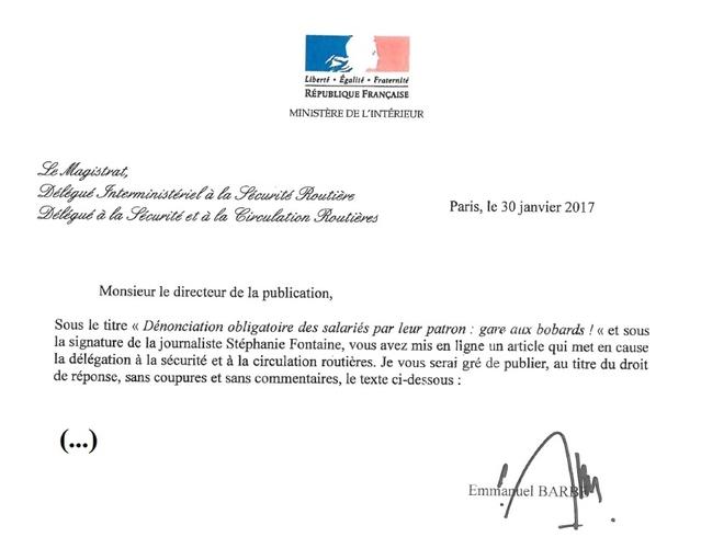 PV radars – Dénonciation obligatoire des salariés par leur patron: droit de réponse du Ministère de l'Intérieur
