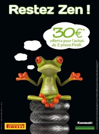 Pour être plus zen, Pirelli et Kawa vous offrent 30€ sur l'achat de vos pneus.