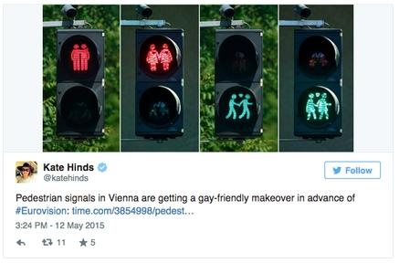 Eurovision : à Vienne, les feux tricolores prônent le gay-friendly