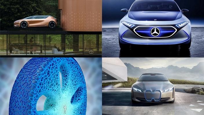 """Renault Symbioz, Mercedes EQA et BMW i Vision Dynamics dessinent les contours de la voiture de demain, tandis que Michelin tente de """"réinventer"""" la roue."""