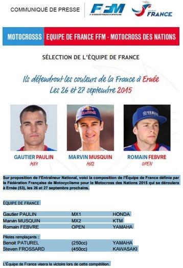 MXDN - France : ce sera Paulin, Musquin et Febvre