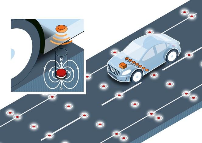 Volvo veut enterrer des aimants dans la route pour guider les autos de demain