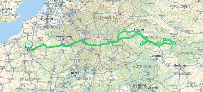 Le parcours du road trip Skoda jusqu'à la frontière slovaque.