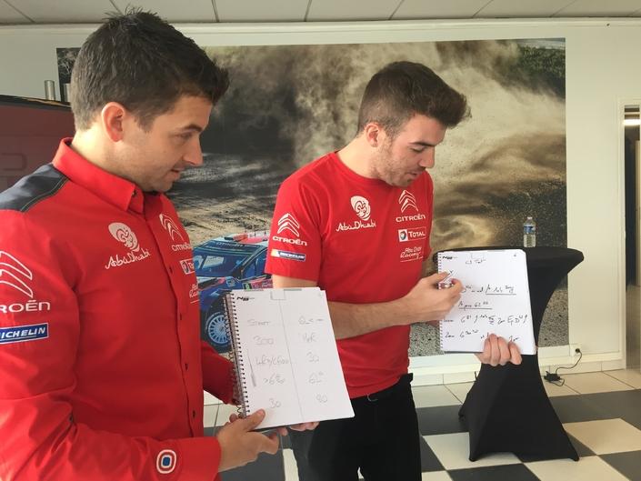 Scott Martin (copilote de Craig Breen) et Gabin Moreau (Stéphane Lefebvre) détaillant leurs techniques respectives de prises de notes.