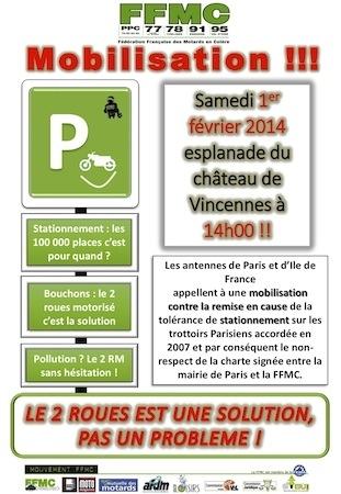 """FFMC : rendez-vous le 1er février pour """"dire non à l'interdiction du stationnement sur les trottoirs """""""