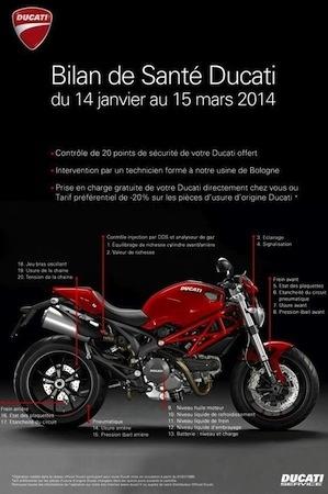 Bilan de santé Ducati: du 14 janvier au 15 mars 2014