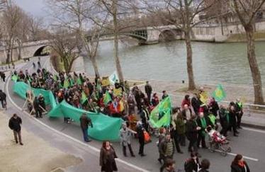 Paris : un défilé prônant la fermeture de la circulation auto sur les voies sur berge de la Seine