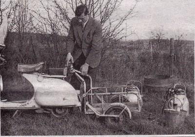 Insolite : traire les vaches avec un scooter Vespa !!!