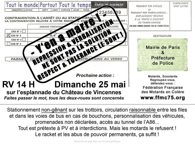 FFMC : Manifestation contre la verbalisation abusive du stationnement