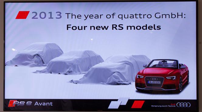Audi annonce 4 nouveaux modèles RS pour 2013