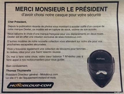 Insolite: le casque de François Hollande fait un tabac!