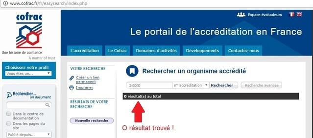 L'accréditation n°2-2040 de SGS est introuvable sur le site du Cofrac !