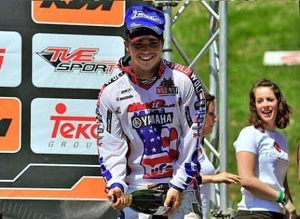 Motocross mondial :  St Jean d'Angély, MX 2, une Yamaha sur le podium