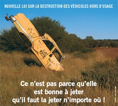Véhicules Hors d'Usage/France : une campagne d'information sur leur élimination