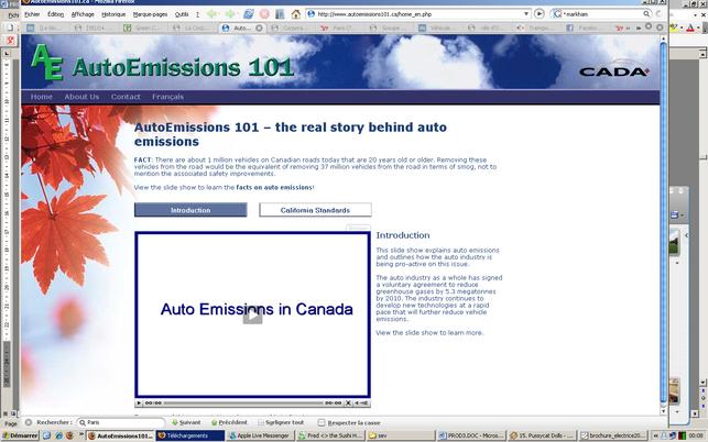 CADA/Canada : lancement d'un site Internet sur la pollution automobile